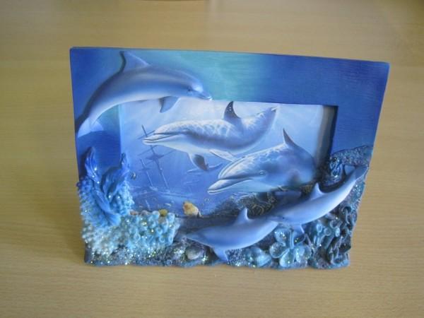 Bilderrahmen mit Delfingruppe 19,3 x 14,6 cm
