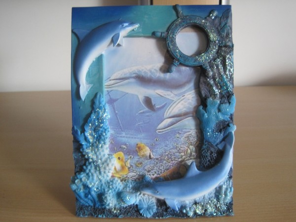 Bilderrahmen mit Delfingruppe 14,6 x 19,3 cm