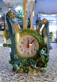 Uhr mit Wecker Seepferdchen - blau