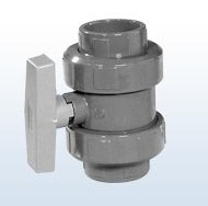 PVC-Kugelhahn mit 2 Anschlussenden, 40 mm, Preis pro Stück bei VE 30