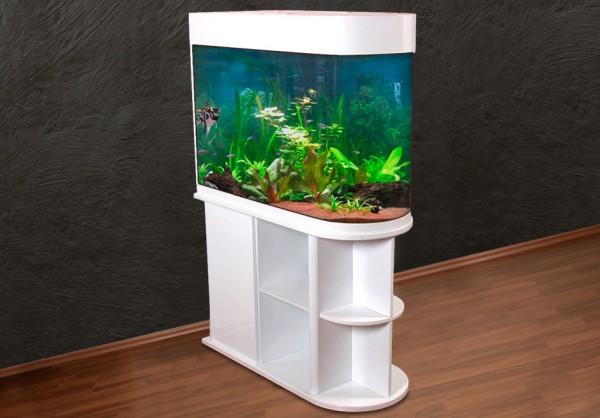 Raumteiler: weißes Glasaquarium Aquarienkombination 100cm