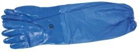 1 Paar blaue Handschuhe 60 cm mit Gummizug am Stulpenende