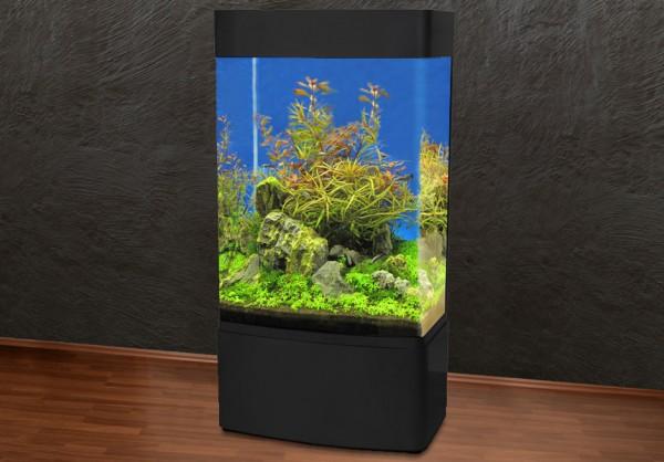 Säule 80cm Glasaquarium Aquarienkombination schwarz