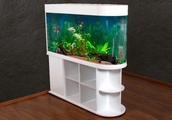Raumteiler: weißes Glasaquarium Aquarienkombination 150cm