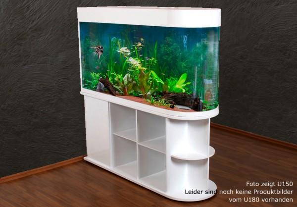 Raumteiler: weißes Glasaquarium Aquarienkombination 180cm