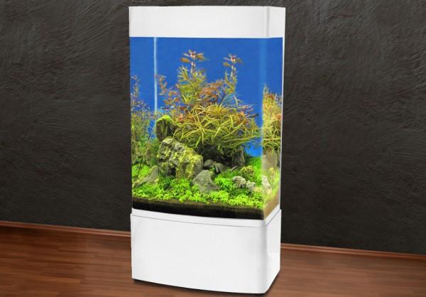 Säule 80cm Glasaquarium Aquarienkombination weiß