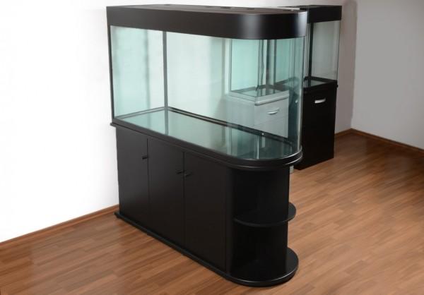 Raumteiler: schwarzes Glasaquarium Aquarienkombination 150cm