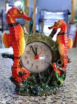 Uhr mit Wecker Seepferdchen - orange